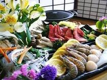 美味いもの大集合!!【熊野牛・車海老・烏賊・鮑・お野菜たち】 海の幸はお刺身でもOK!!