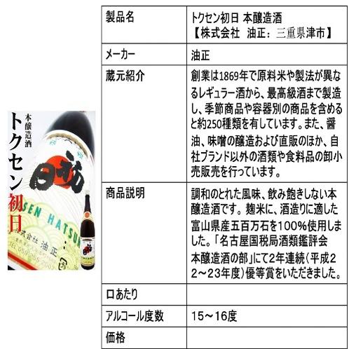 トクセン初日 本醸造酒 【株式会社 油正:三重県津市】