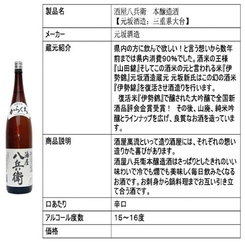 酒屋八兵衛 本醸造酒 【元坂酒造:三重県大台】