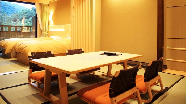 【禁煙】露天風呂付Aタイプ■和室+寝室(ツイン)■お部屋食