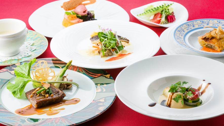 *清流宮川のアマゴからスタートするこのコースには、奥伊勢の食材を豊富に取り入れています。