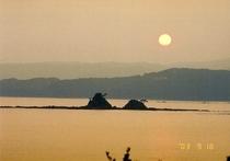 宿からの見る水島の夕景