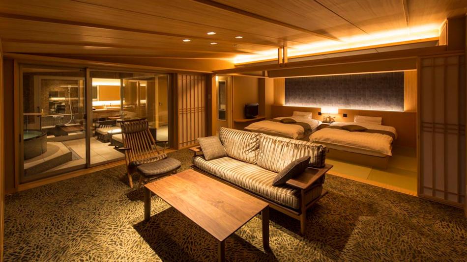 最上階6階確約、かけ流し展望風呂付客室【燎Kagari】空と海に対座する絶景の客室です♪