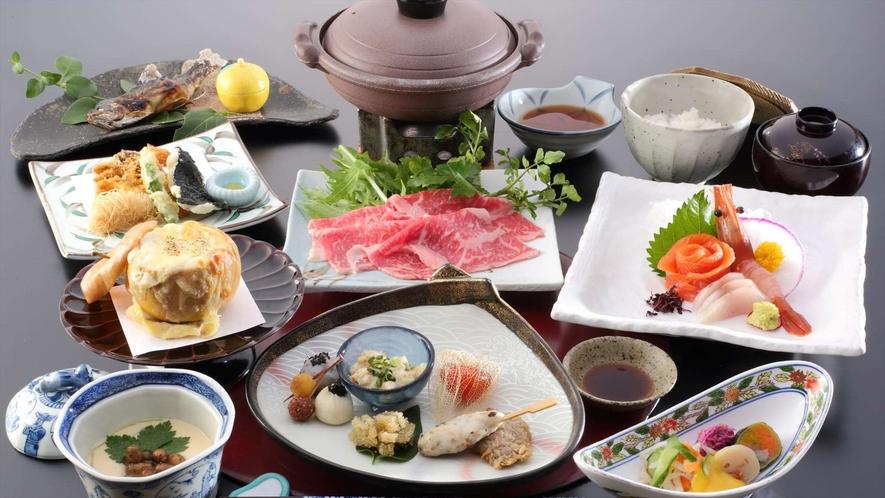 冬のご夕食一例 ~地元の食材を使ったお料理を月替わりでご用意しております。~※イメージ