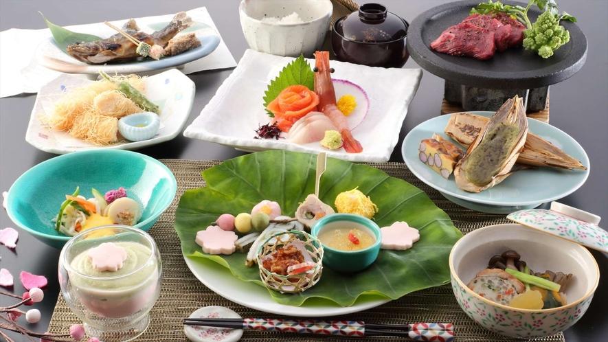 春のご夕食一例 ~地元の食材を使ったお料理を月替わりでご用意しております。~※イメージ