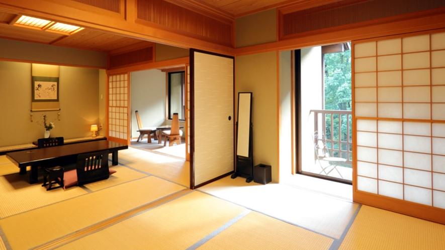 【続き間の広々とした客室】和10畳+和6畳+和4.5畳+広縁フローリング+テラス