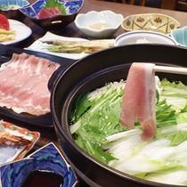 *【夕食例】上州もち豚を使ったしゃぶしゃぶは、人気の逸品です。