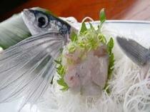 17. トビウオのお刺身は海辺の宿ならでは。脂がのった身を味わって