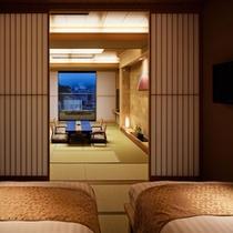 807 17.5TW露天風呂付富士山 ベッドルームからの本間