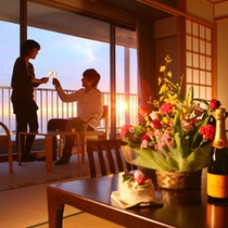 *お誕生日・記念日でのご利用にも。お食事もお部屋食なら二人でゆっくりお召し上がりいただけます。