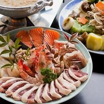【招福鍋】鴨肉やじゃがいも、おもちなどが入り、天見の郷土に古くから伝わる『榧味噌』で炊き上げます