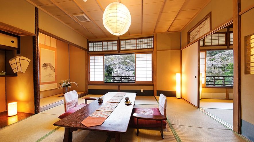 """【桜の間-SAKURA-】『たおやかな時』を刻む、一番人気の""""庭園側客室"""""""