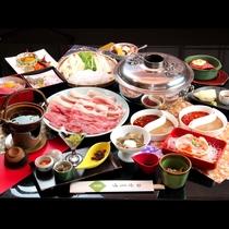 ■【夕食】秋田牛&八幡平ポークのしゃぶしゃぶ