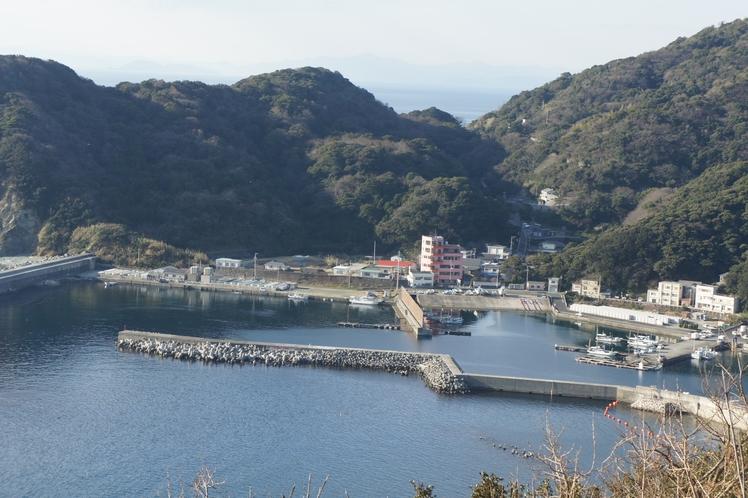 全景:奥に見えるサーモンピンクの建物が、民宿大岩です。漁港に隣接しています。