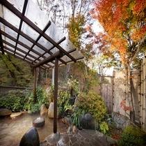 【秋】紅葉露天 紅葉の葉っぱが浮かぶ秋の風情の露天