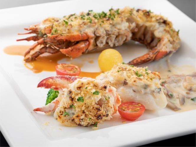 オマール海老と近海でとれた旬の魚とテルミドール シェリーヴィネガーとアメリケース 2種のソース