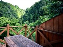 テラスから眺める九酔渓の景色一例