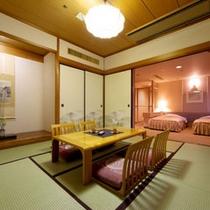 【和洋室】洋室と畳の和室がひとつになった広々としたお部屋。(客室一例)
