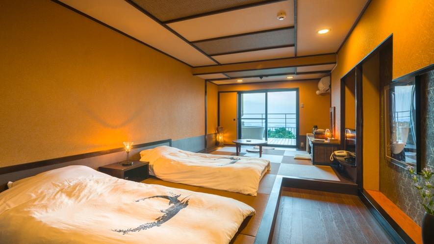 露天風呂付き客室【月昇宮】黄