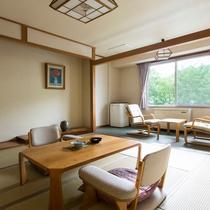 【聴水閣】和室の一例。無加川のせせらぎが心地よく聴こえます。
