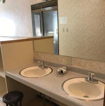 お風呂の脱衣場の洗面所にドライヤーをご用意しています。