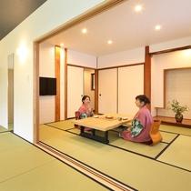 広々とした2間の和室 それぞれのお部屋にTVあり 和室(10畳×8畳) 離れ露天風呂付客室