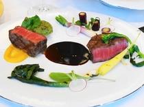 信州産牛肉           地元野菜のヴァリエーション