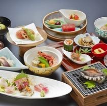 アワビ踊り焼き付き和食会席料理イメージ(季節により内容変わります)1階和食レストランでご用意致します