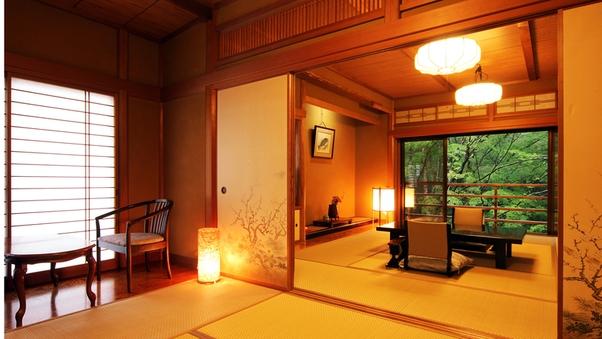ゆとりの和室2間*露天風呂付客室 *趣と緑風〜2間続き