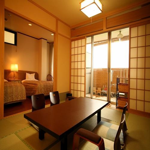 【お部屋】露天風呂付和洋室 10畳+ツイン 6名定員
