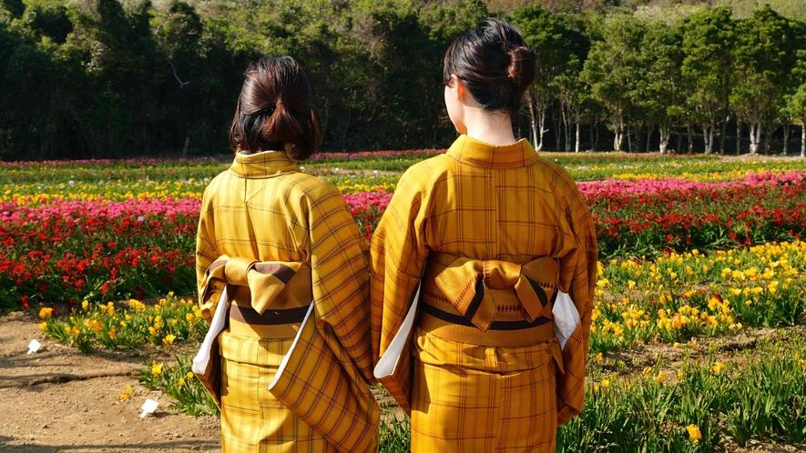*黄八丈着付け体験 島の伝統工芸品を着ることが出来ます! 一社)八丈島観光協会