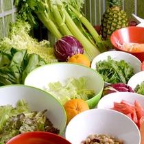 【朝食】美味しさと栄養バランスにこだわって厳選した産地直送の色とりどりな野菜たち
