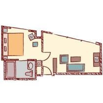【ジュニアスイート】39.58㎡/180cm幅のベッドx1台