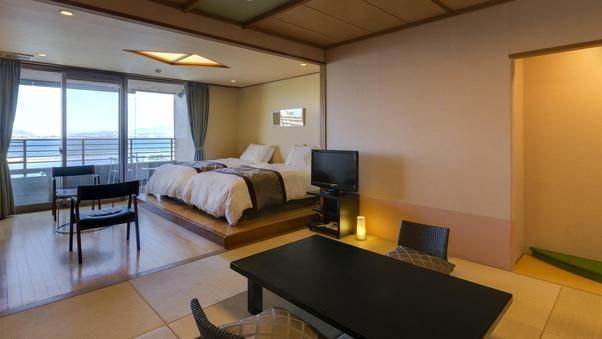 露天風呂付客室「びわの風」和洋室ツインベッド50平米(禁煙)