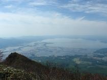 磐梯山頂 猪苗代湖