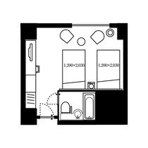ツインルーム 27.0㎡ 間取り図 一例
