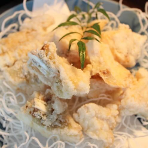 (夕食)冬の味覚クエの唐揚げ