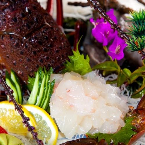 (夕食)伊勢海老の姿造り