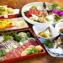 (夕食)佐賀牛、カツオ、アジのたたき尽くしと刺身盛り、サザエの海鮮三昧