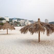 (周辺観光)白良浜と椰子の葉パラソル