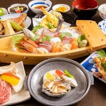 夕食(あわび&ステーキ)