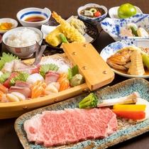 夕食(ステーキ御膳&刺身舟盛り)
