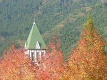 秋・木々からひょこっと顔を出している三角のとんがり屋根が目印です
