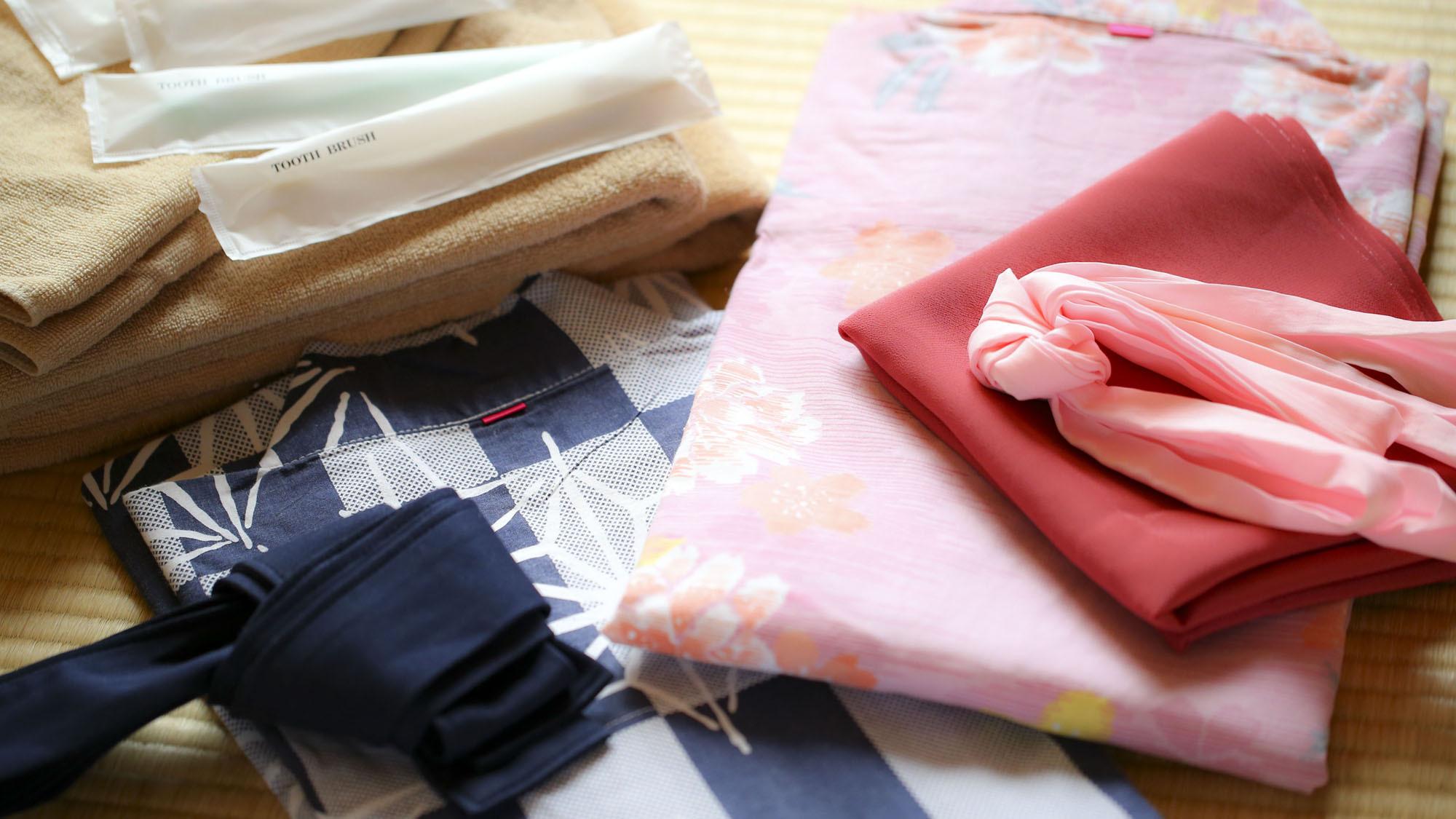■アメニティ 男性女性共に色浴衣をご準備しております