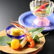 ■夏の前菜一例。旬の食材をふんだんに。