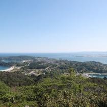 亀山山頂からの眺め(南)遠くは牡鹿半島、金華山まで♪
