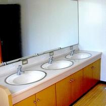 共同の洗面所はコテージの1階(脱衣所)と2階にございます。備え付けのドライヤーもございます。