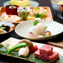 旬菜会席『花咲』~三田牛ステーキ付~(一例)