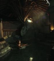 露天風呂とアロマキャンドル