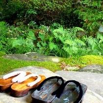 【純和風客室一例】緑あふれる中庭の様子。